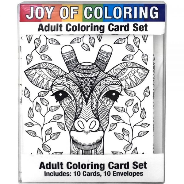 "Joy Of Coloring Adult Coloring Card Set 4""X5.5"""