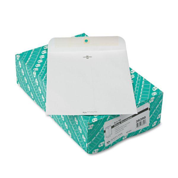 Quality Park Clasp Envelope, 9 x 12, 28lb, White, 100/Box