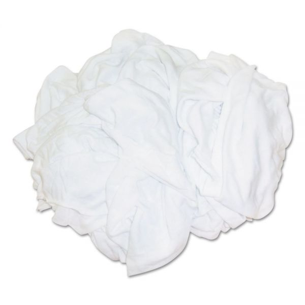 HOSPECO New Bleached White T-Shirt Rags, Multi-Fabric, 25 lb Polybag
