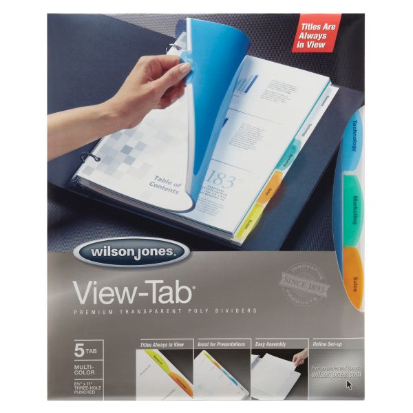 Wilson Jones View-Tab Transparent 5-Tab Dividers