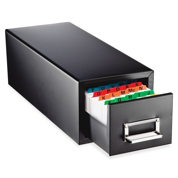 "SteelMaster Drawer Card Cabinet Holds 1,500 5 x 8 cards, 9-7/16"" x 7-1/2"" x 16"""