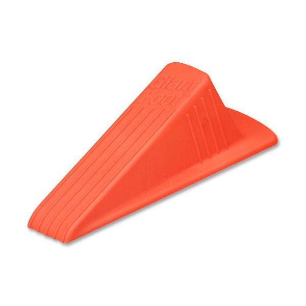 Master Caster Giant Foot Doorstop, No-Slip Rubber Wedge, 3-1/2w x 6-3/4d x 2h, Safety Orange