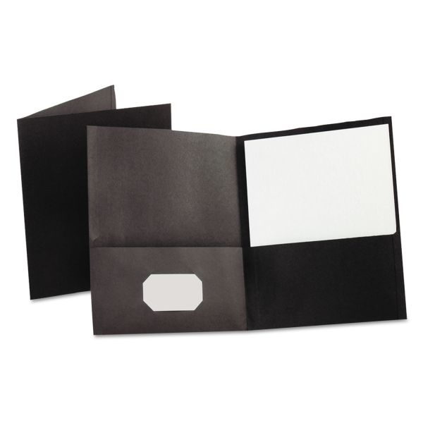 Oxford Twin-Pocket Folder, 100-Sheet Capacity, Black, 25/Box