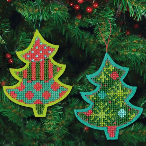 Jolly Tree Ornaments Felt Counted Cross Stitch Kit