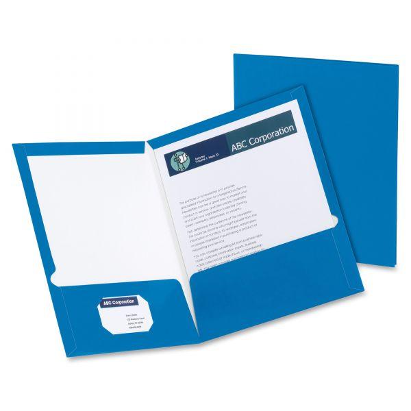 Oxford Blue Laminated Two Pocket Folders