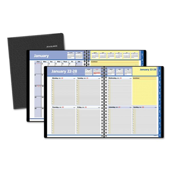 AT-A-GLANCE QuickNotes Weekly/Monthly Appointment Book, 8 x 9 7/8, Black, 2018