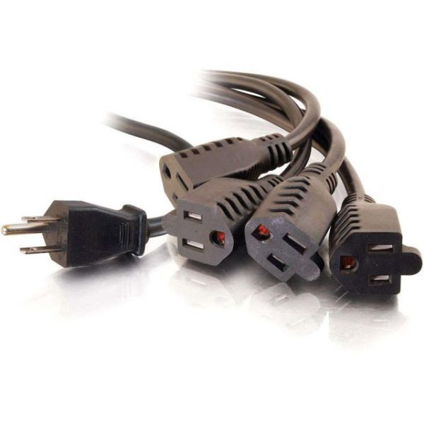 C2G 18in 16 AWG 1-to-4 Power Cord Splitter (1 NEMA 5-15P to 4 NEMA 5-15R)