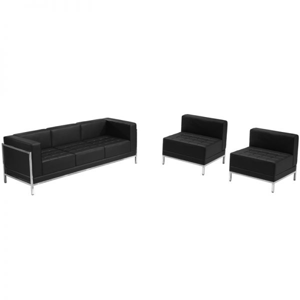 Flash Furniture HERCULES Imagination Series Black Leather Sofa & Chair Set