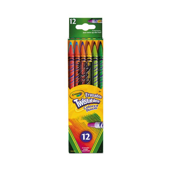 Crayola Twistables Erasable Colored Pencils, 12 Assorted Colors/Pack
