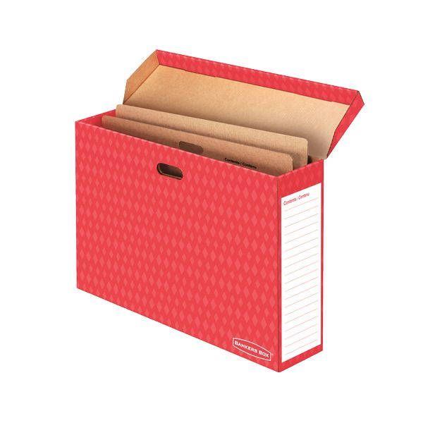 Bankers Box Bulletin Board Storage Box, Red