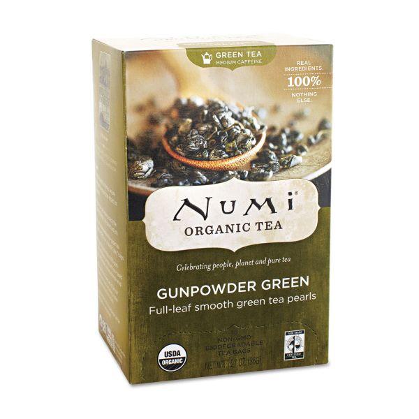 Numi Organic Teas and Teasans, 1.27oz, Gunpowder Green, 18/Box