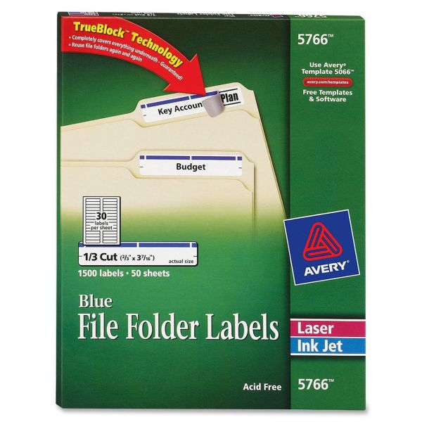 Avery Permanent File Folder Labels, TrueBlock, Inkjet/Laser, Blue, 1500/Box