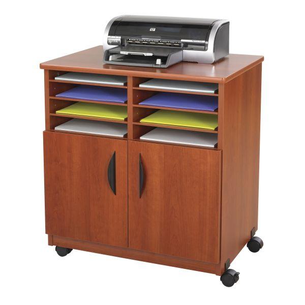 Safco Laminate Machine Stand w/Sorter Compartments, 28w x 19-3/4d x 30-1/4h, Cherry