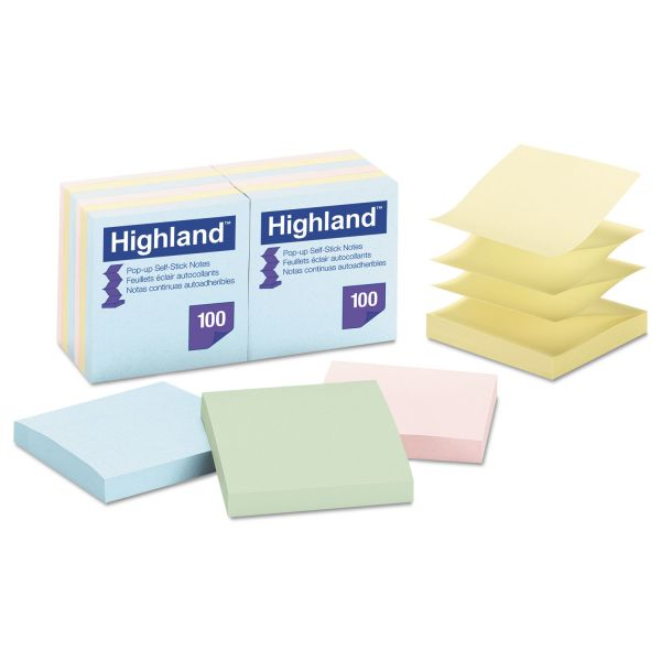 "Highland 3"" x 3"" Pop-Up Adhesive Note Pads"
