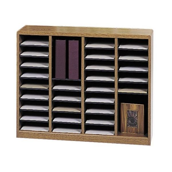 Safco 36 Compartments E-Z Stor Light Wood Literature Organizer
