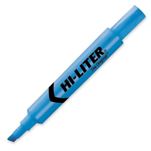 Avery HI-LITER Desk-Style Highlighter, Chisel Tip, Fluorescent Blue Ink, Dozen