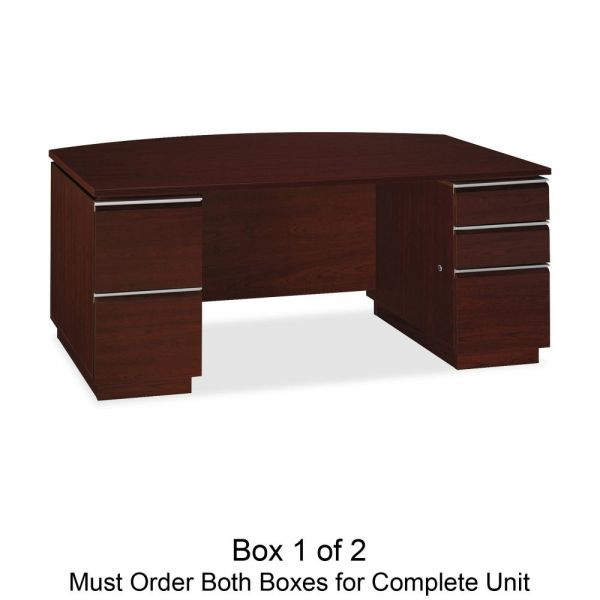 "Bush 72""W Bow Front Double Pedestal Desk (Box 1 of 2) Milano 2, Harvest Cherry"