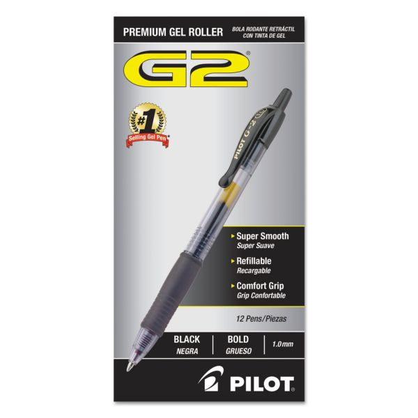 Pilot G2 Premium Retractable Gel Ink Pen, Refillable, Black Ink, Bold, Dozen