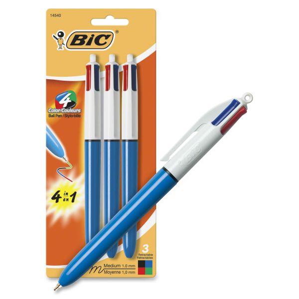 BIC 4-Color Retractable Ballpoint Pen, Med Pt, 1.0 mm, 3/Pack
