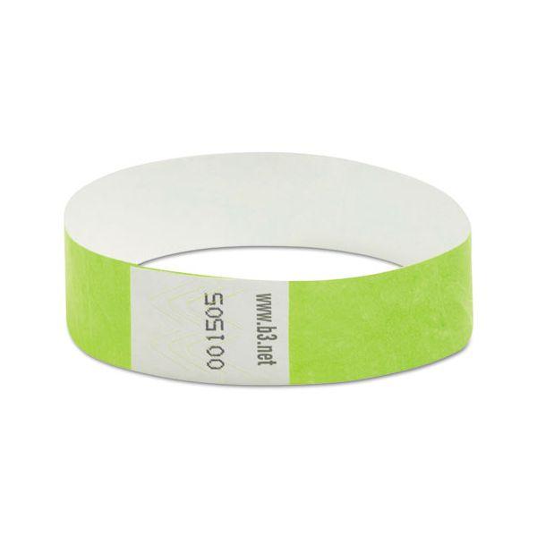 """SICURIX Wristpass Security Wristbands, 3/4"""" x 10"""", Green, 100/Pack"""
