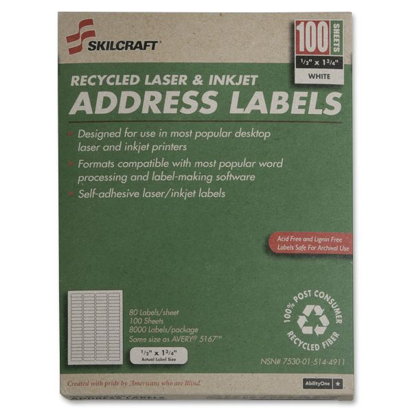 SKILCRAFT Recycled Return Address Labels