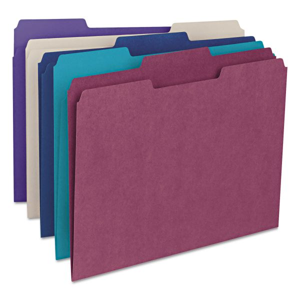 Smead File Folders, 1/3 Cut Top Tab, Letter, Deep Assorted Colors, 100/Box