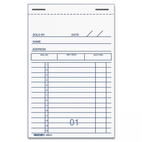Rediform 2-Part Carbonized Sales Receipt Book