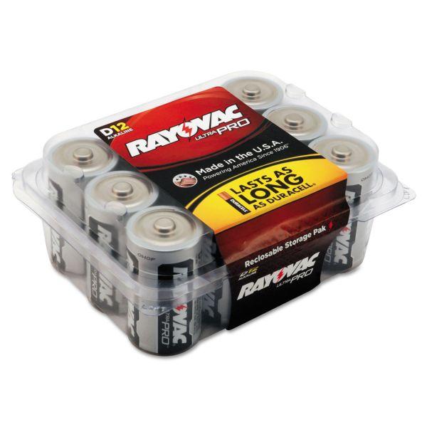 Rayovac Ultra Pro Alkaline Batteries, D, 12/Pack