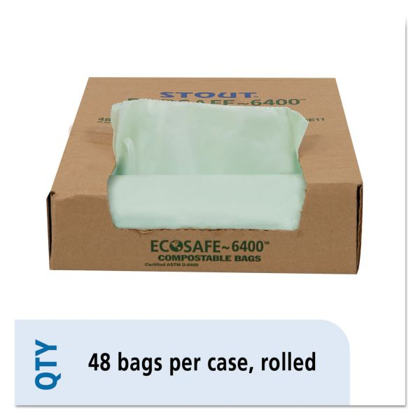 Stout by Envision EcoSafe-6400 Compostable Compost Bags, 1.1mil, 30 x 39, Green, 48/Box