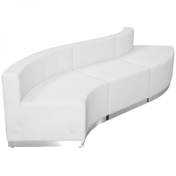Flash Furniture HERCULES Alon Series Melrose White Leather Reception Configuration, 3 Pieces