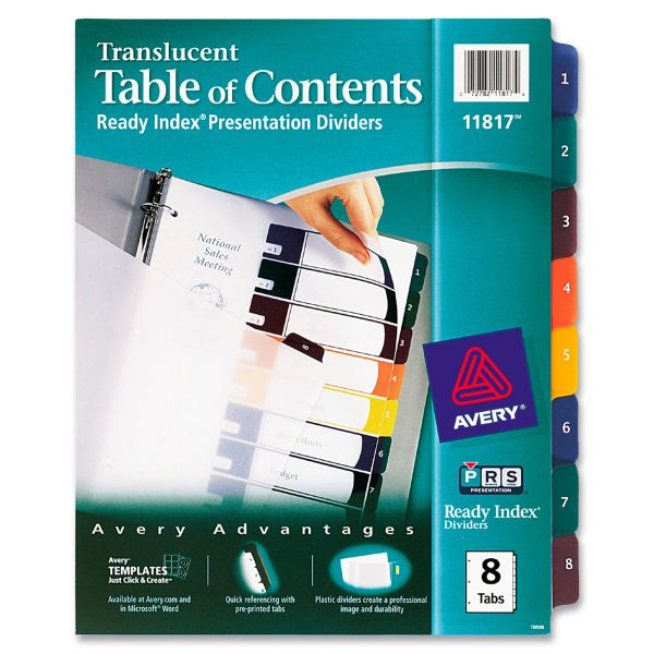 Avery Translucent Ready Index 8-Tab Numbered Dividers With Table Of Contents Page