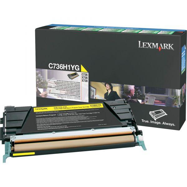 Lexmark C736H1YG Yellow High Yield Return Program Toner Cartridge