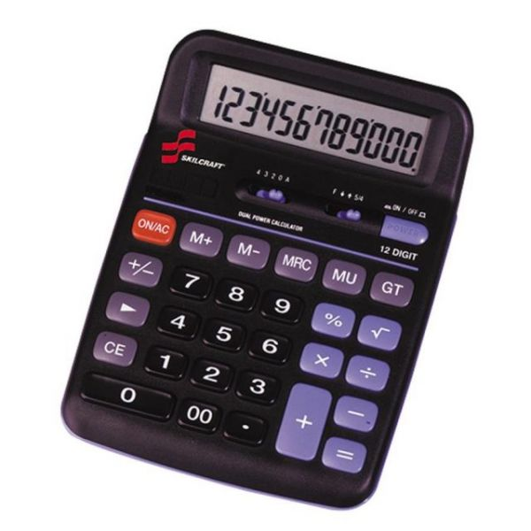 SKILCRAFT 12-Digit Dual Powered Desktop Calculator