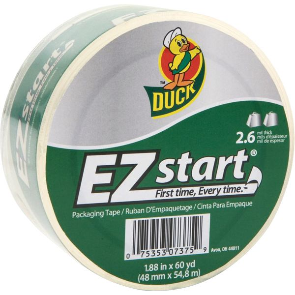 "Duck EZ Start Premium Packaging Tape, 1.88"" x 60yds, 3"" Core, Clear"