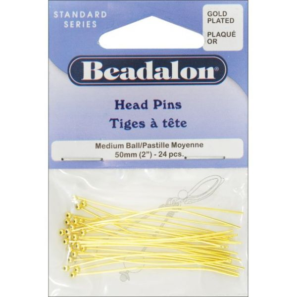 "Beadalon Head Pins Ball 2"" 24/Pkg"
