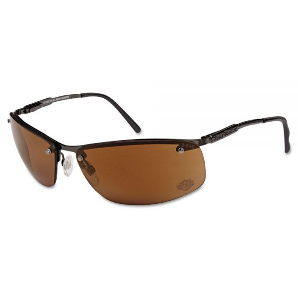 Harley-Davidson HD 700 Series Safety Glasses, Gunmetal Frame, Brown Mirror Lens