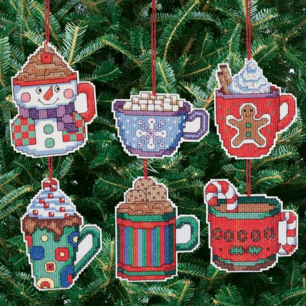 Cocoa Mug Ornaments Counted Cross Stitch Kit