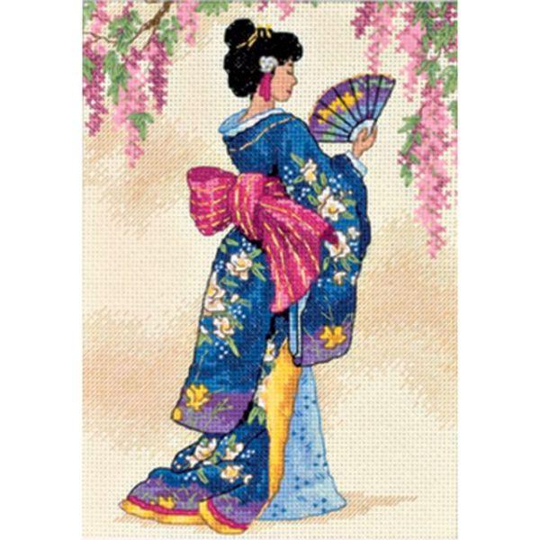 Gold Petite Elegant Geisha Counted Cross Stitch Kit
