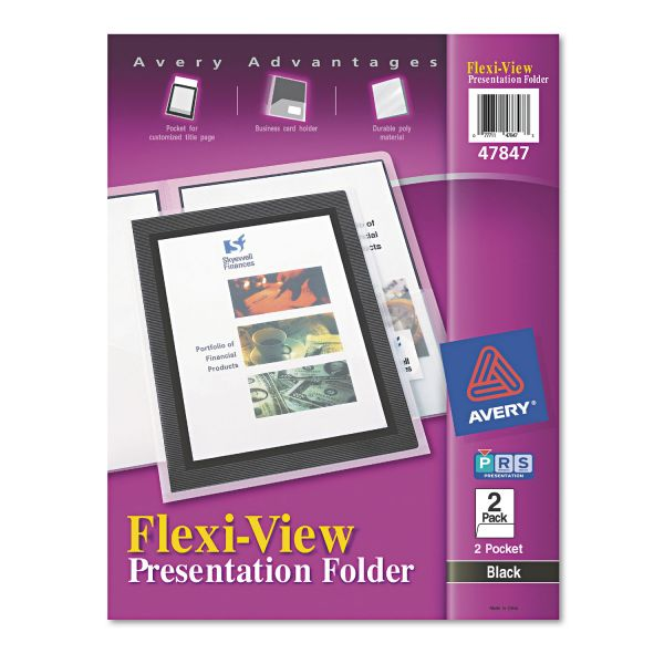 Avery Flexi-View Two-Pocket Polypropylene Folder, Translucent/Black, 2/Pack
