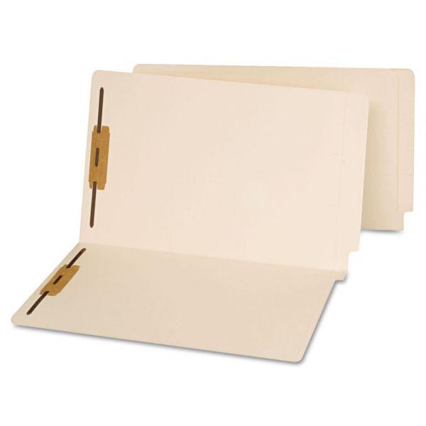 Universal End Tab Folders, Two Fasteners, Legal, Manila, 50/Box