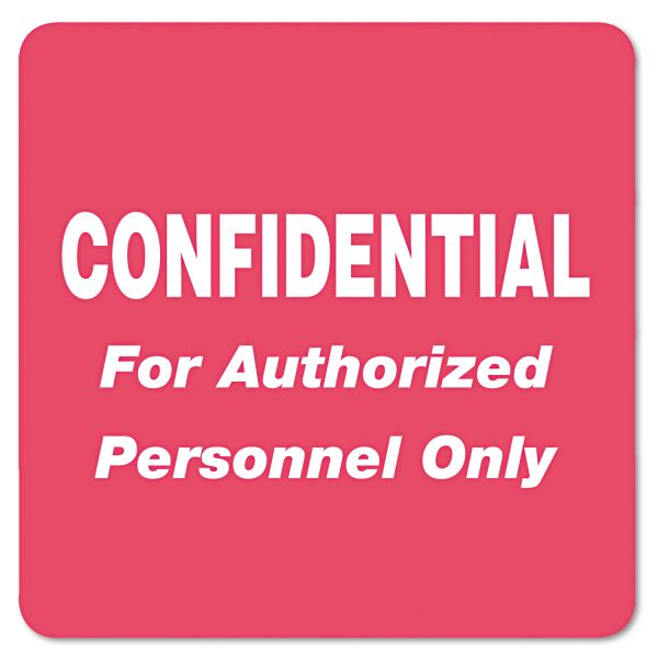 Tabbies Confidential Auth. Personnel Only Label