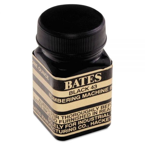 Bates Refill Ink for Numbering Machines, 1 oz Bottle, Black