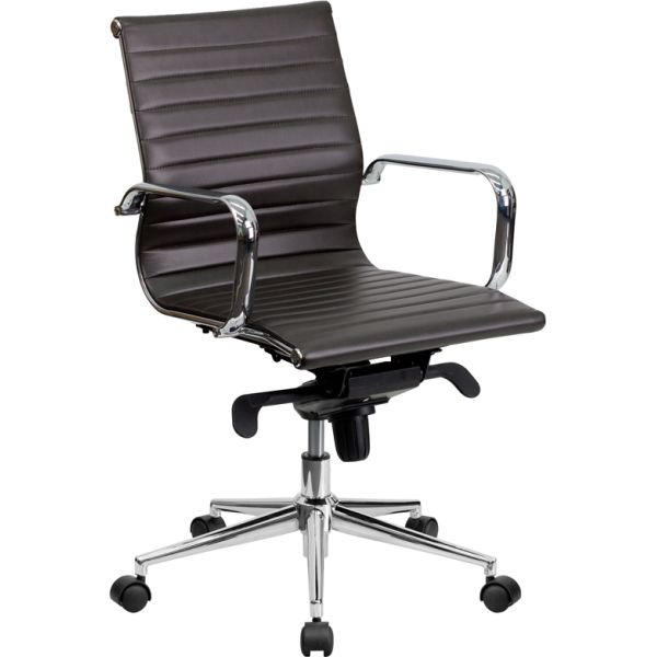 Flash Furniture Mid-Back Leather Swivel Conference Chair