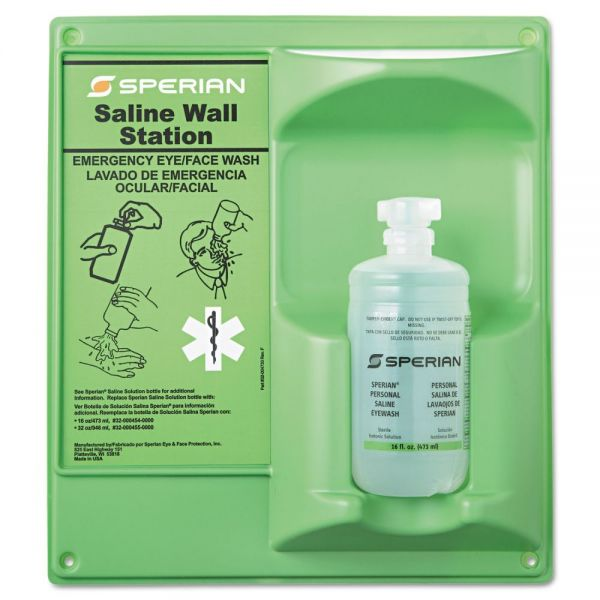 Honeywell Saline Eye Wash Wall Station, 16oz Bottle, 1 Bottle/Station