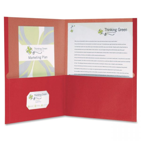 Oxford Earthwise by Oxford 100% Recycled Paper Twin-Pocket Portfolio, Red