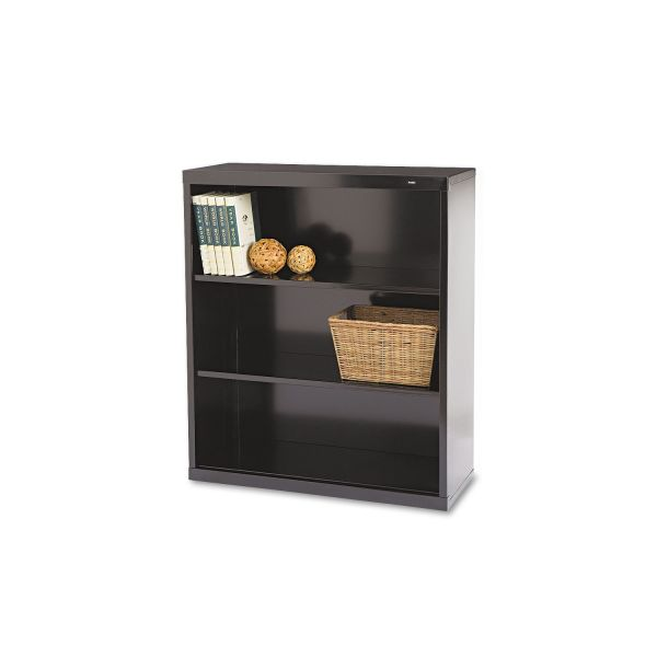 Tennsco Metal Bookcase, Three-Shelf, 34-1/2w x 13-1/2d x 40h, Black