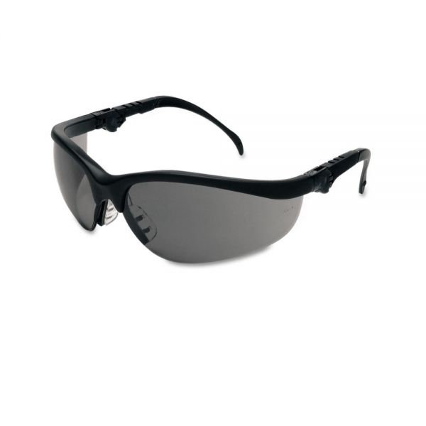 MCR Safety Klondike Plus Safety Glasses, Black Frame, Gray Lens