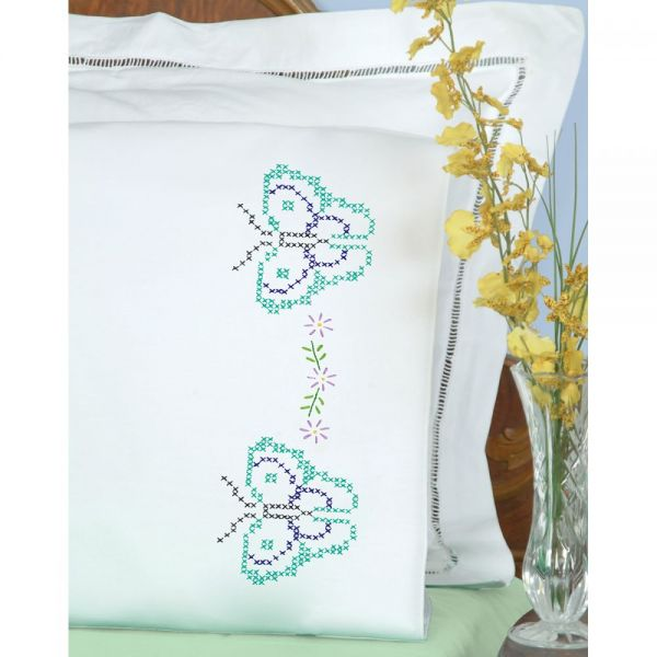 Jack Dempsey Stamped Pillowcases W/White Perle Edge