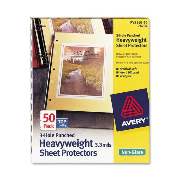 Avery Top-Load Poly Three-Hole Sheet Protectors, Letter, Heavy Weight, Non-Glare, Clear, 50/Box