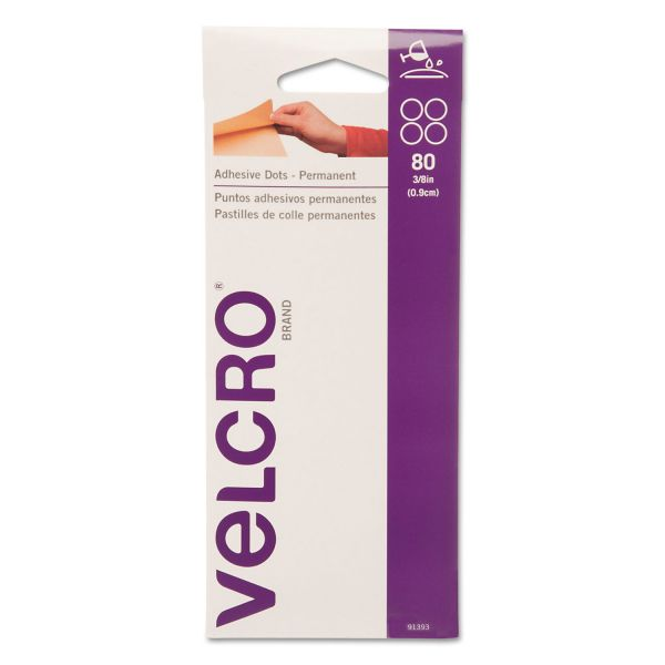 "Velcro Adhesive-Backed Dots, Permanent, 3/8"" diameter, 80/Pack"